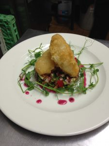 Goats Cheese with Beetroot Dressing & Pea Shoots - From the menu of Trigony House Luxury Hotel & Restaruant, Dumfries, Scotland