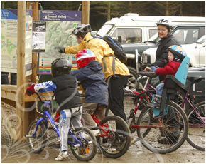 Family enjoying the 7Stanes Mountain Bike Trails