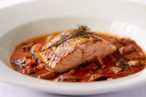 Shetland Salmon & Solway Mussels in a Rich Sauce